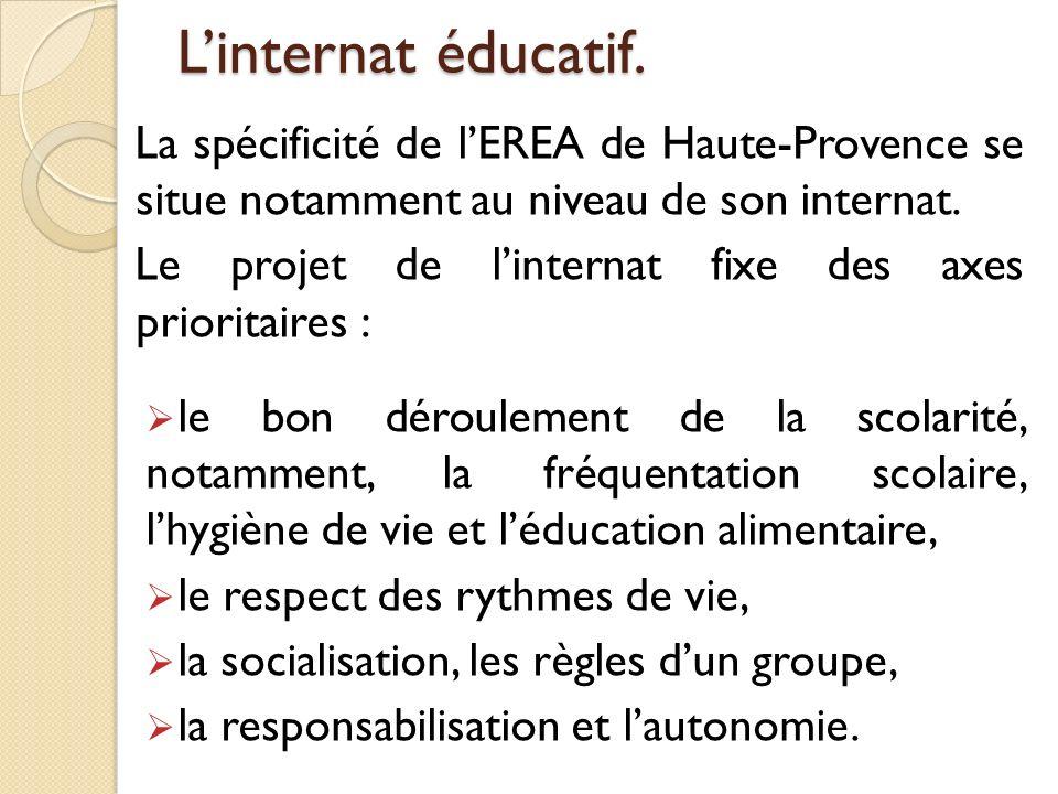 Linternat éducatif. La spécificité de lEREA de Haute-Provence se situe notamment au niveau de son internat. Le projet de linternat fixe des axes prior