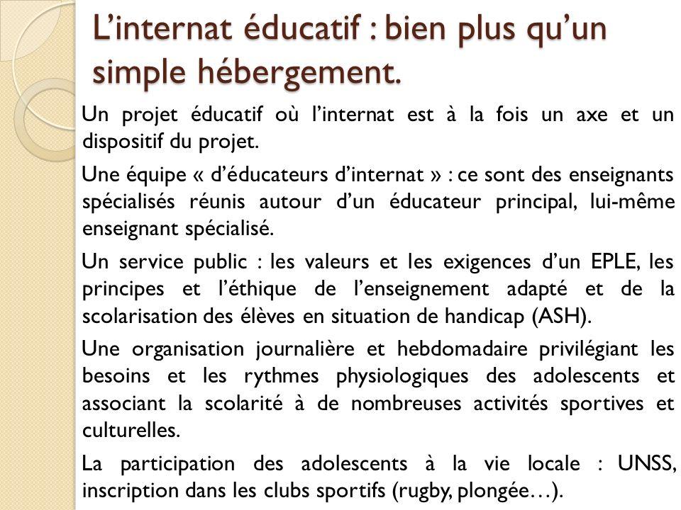 Linternat éducatif : bien plus quun simple hébergement. Un projet éducatif où linternat est à la fois un axe et un dispositif du projet. Une équipe «