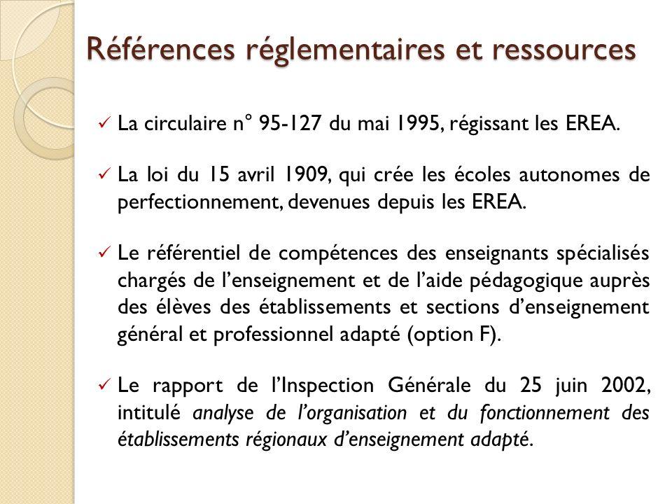 Références réglementaires et ressources La circulaire n° 95-127 du mai 1995, régissant les EREA. La loi du 15 avril 1909, qui crée les écoles autonome
