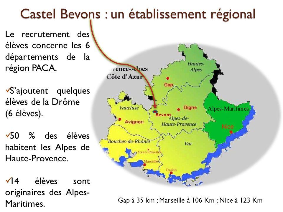 Castel Bevons : un établissement régional Castel Bevons : un établissement régional Le recrutement des élèves concerne les 6 départements de la région PACA.