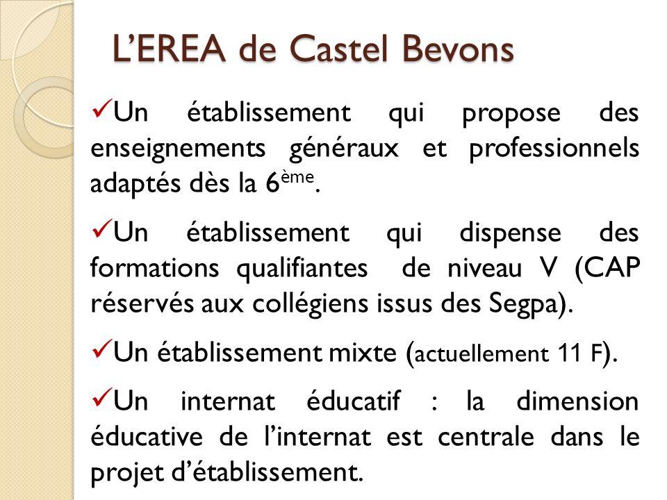 LEREA de Castel Bevons Un établissement qui propose des enseignements généraux et professionnels adaptés dès la 6 ème. Un établissement qui dispense d