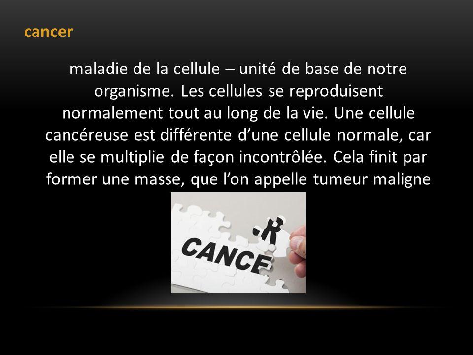 cancer maladie de la cellule – unité de base de notre organisme. Les cellules se reproduisent normalement tout au long de la vie. Une cellule cancéreu