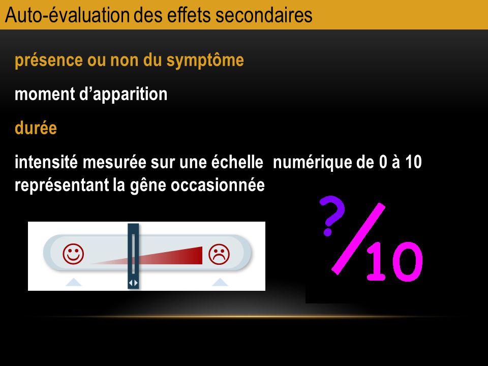 Auto-évaluation des effets secondaires présence ou non du symptôme moment dapparition durée intensité mesurée sur une échelle numérique de 0 à 10 repr
