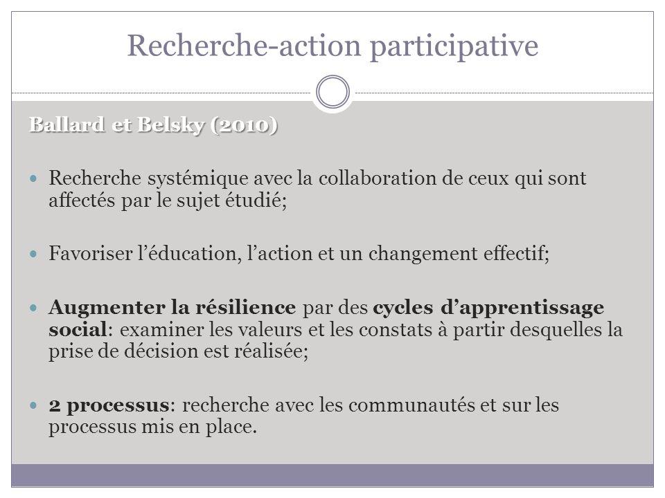 Recherche-action participative Ballard et Belsky (2010) Recherche systémique avec la collaboration de ceux qui sont affectés par le sujet étudié; Favoriser léducation, laction et un changement effectif; Augmenter la résilience par des cycles dapprentissage social: examiner les valeurs et les constats à partir desquelles la prise de décision est réalisée; 2 processus: recherche avec les communautés et sur les processus mis en place.