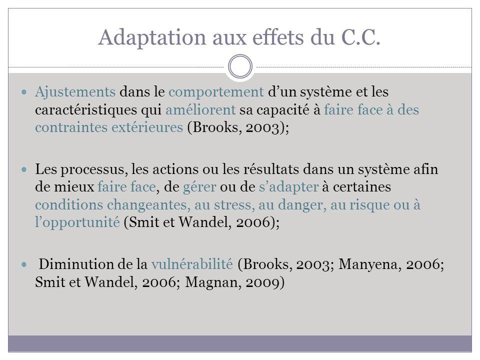 Adaptation aux effets du C.C.
