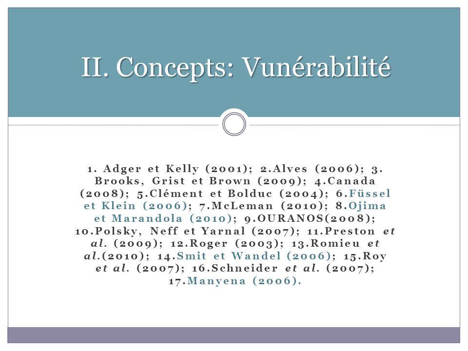 1.Adger et Kelly (2001); 2.Alves (2006); 3.