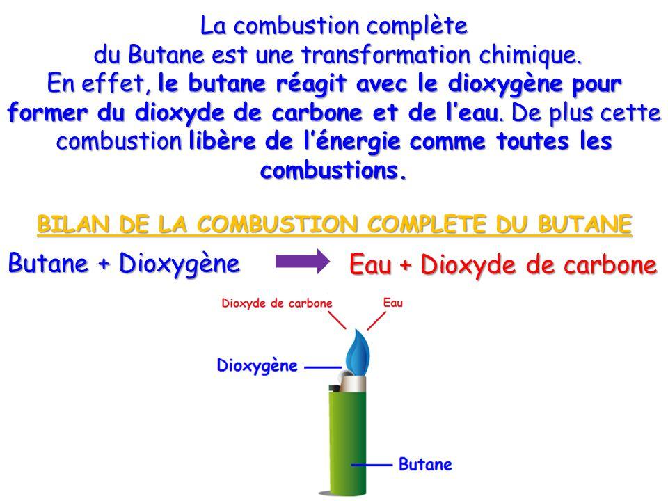 Butane + Dioxygène Eau + Dioxyde de carbone La combustion complète du Butane est une transformation chimique. du Butane est une transformation chimiqu
