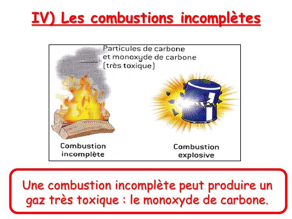 Une combustion incomplète peut produire un gaz très toxique : le monoxyde de carbone. IV) Les combustions incomplètes