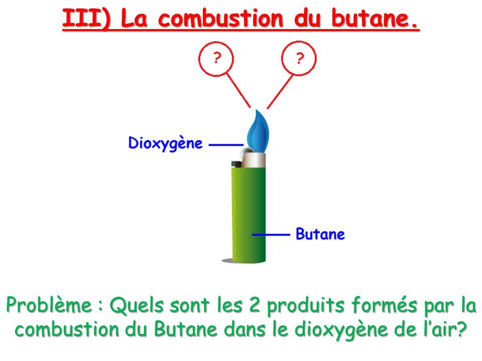 III) La combustion du butane. Problème : Quels sont les 2 produits formés par la combustion du Butane dans le dioxygène de lair?