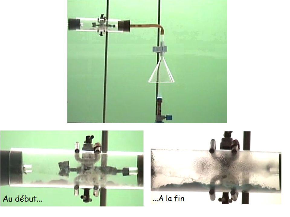 Observation : Le sulfate de cuivre anhydre initialement blanc devient bleu au contact du gaz.