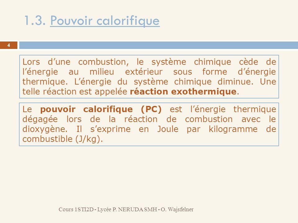 1.3. Pouvoir calorifique 4 Cours 1STI2D - Lycée P. NERUDA SMH - O. Wajsfelner Lors dune combustion, le système chimique cède de lénergie au milieu ext