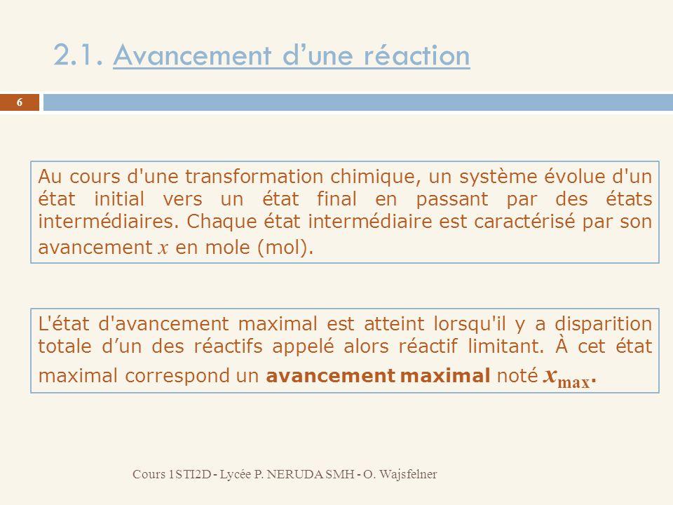 2.1. Avancement dune réaction Au cours d'une transformation chimique, un système évolue d'un état initial vers un état final en passant par des états