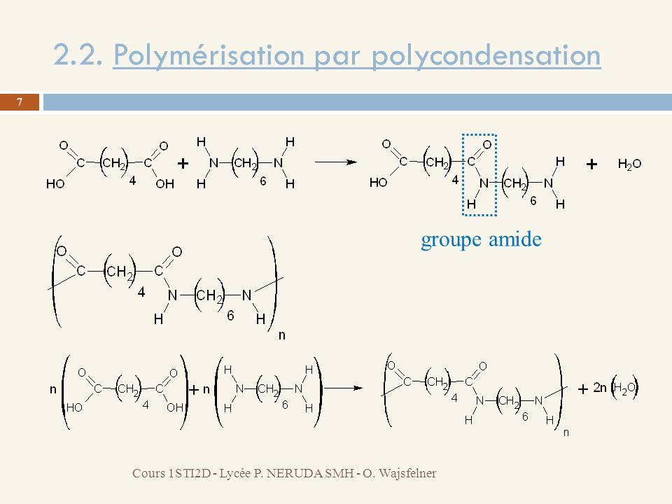 2.2. Polymérisation par polycondensation 7 Cours 1STI2D - Lycée P. NERUDA SMH - O. Wajsfelner groupe amide