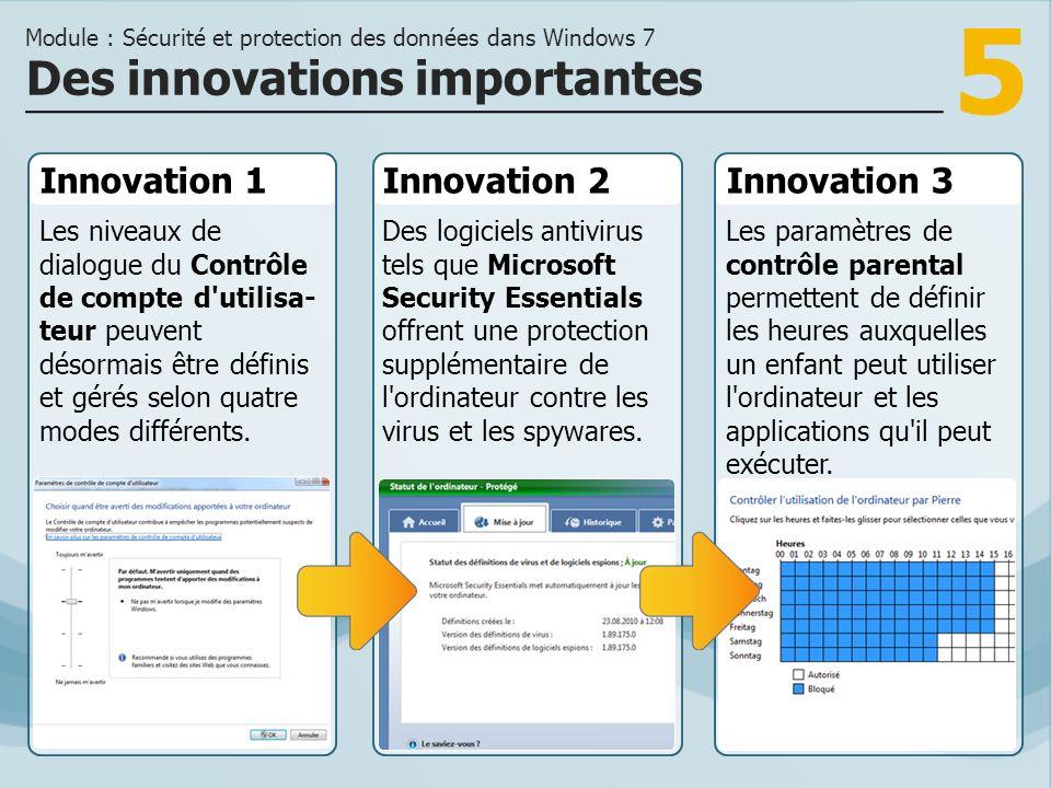 5 Innovation 1 Les niveaux de dialogue du Contrôle de compte d utilisa- teur peuvent désormais être définis et gérés selon quatre modes différents.