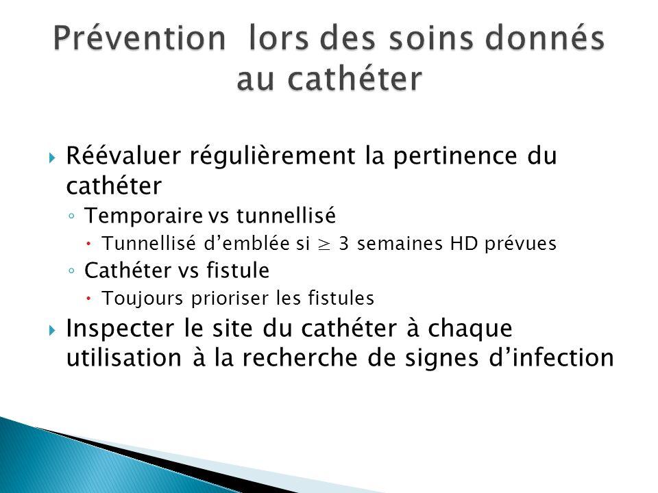 Réévaluer régulièrement la pertinence du cathéter Temporaire vs tunnellisé Tunnellisé demblée si 3 semaines HD prévues Cathéter vs fistule Toujours prioriser les fistules Inspecter le site du cathéter à chaque utilisation à la recherche de signes dinfection
