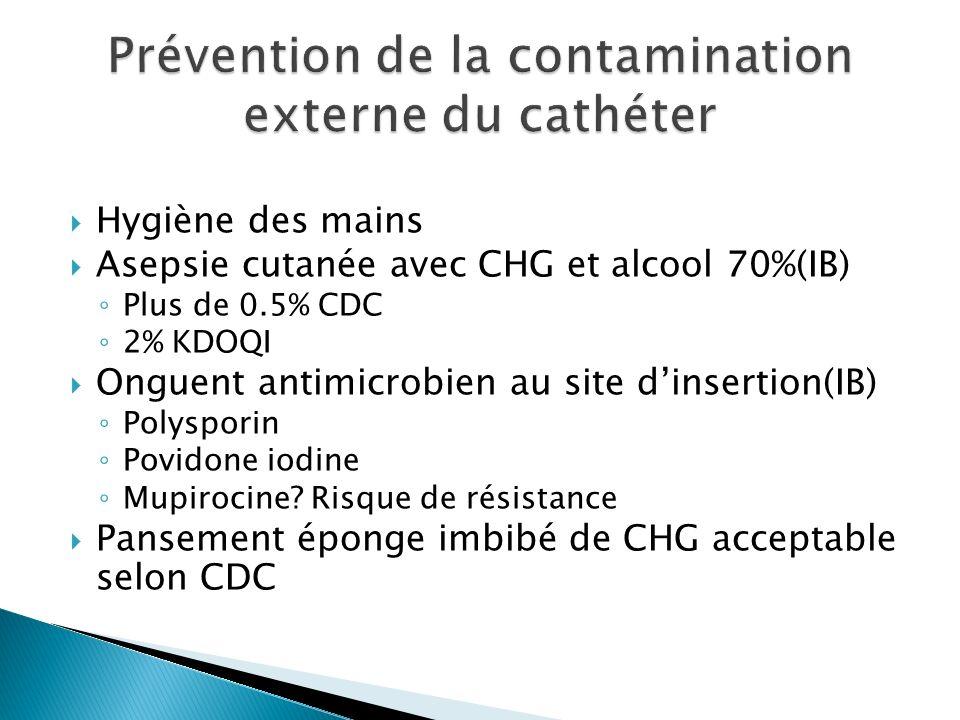 Hygiène des mains Asepsie cutanée avec CHG et alcool 70%(IB) Plus de 0.5% CDC 2% KDOQI Onguent antimicrobien au site dinsertion(IB) Polysporin Povidone iodine Mupirocine.
