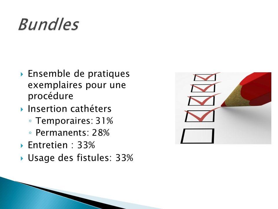 Ensemble de pratiques exemplaires pour une procédure Insertion cathéters Temporaires: 31% Permanents: 28% Entretien : 33% Usage des fistules: 33%