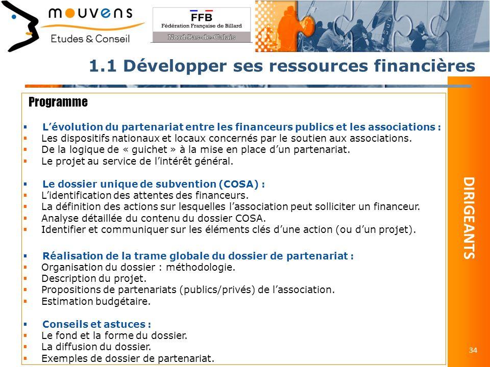 1.1 Développer ses ressources financières 34 Programme Lévolution du partenariat entre les financeurs publics et les associations : Les dispositifs nationaux et locaux concernés par le soutien aux associations.