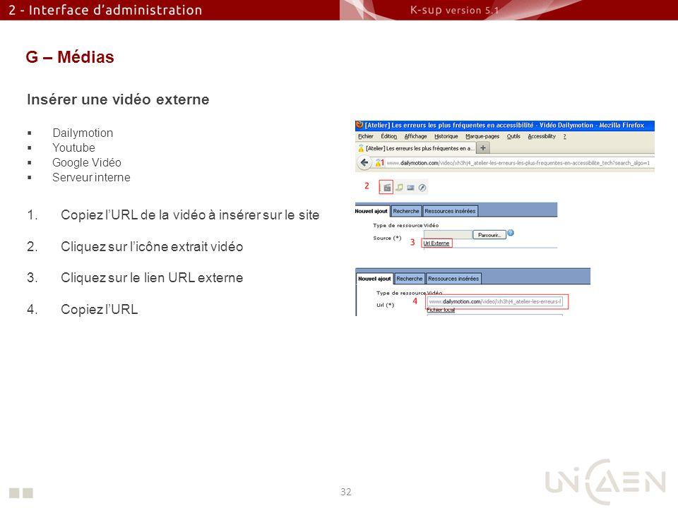 G – Médias Insérer une vidéo externe Dailymotion Youtube Google Vidéo Serveur interne 1.Copiez lURL de la vidéo à insérer sur le site 2.Cliquez sur li