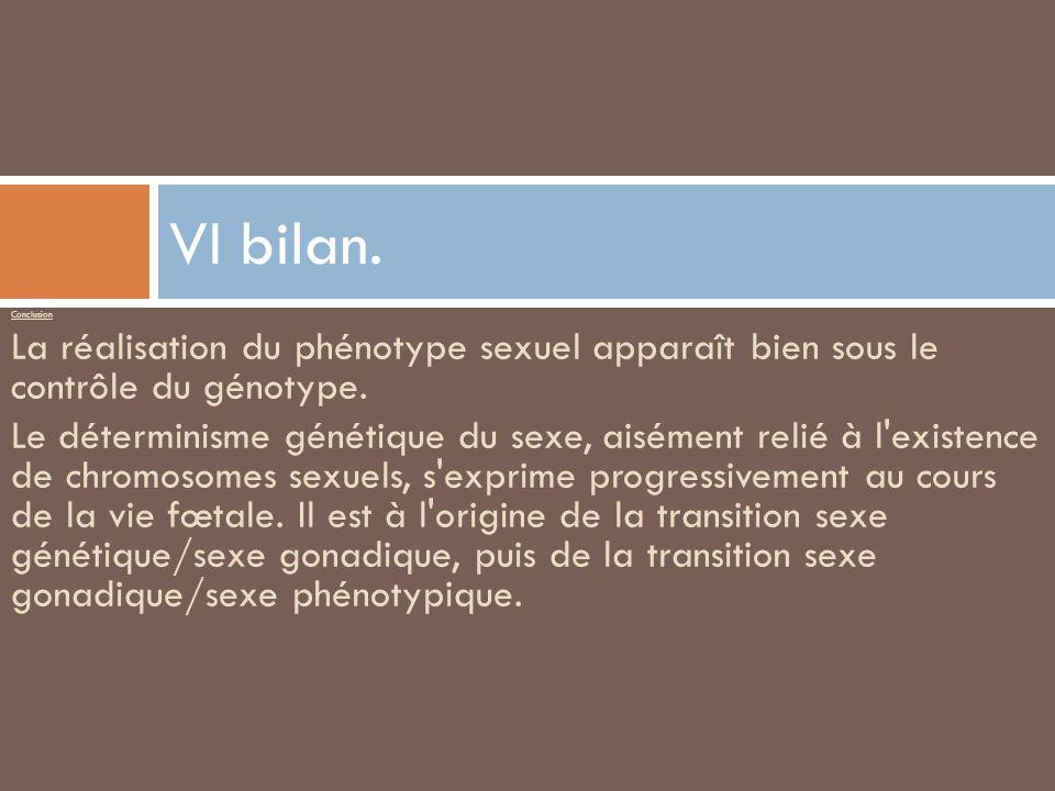 Conclusion La réalisation du phénotype sexuel apparaît bien sous le contrôle du génotype. Le déterminisme génétique du sexe, aisément relié à l'existe