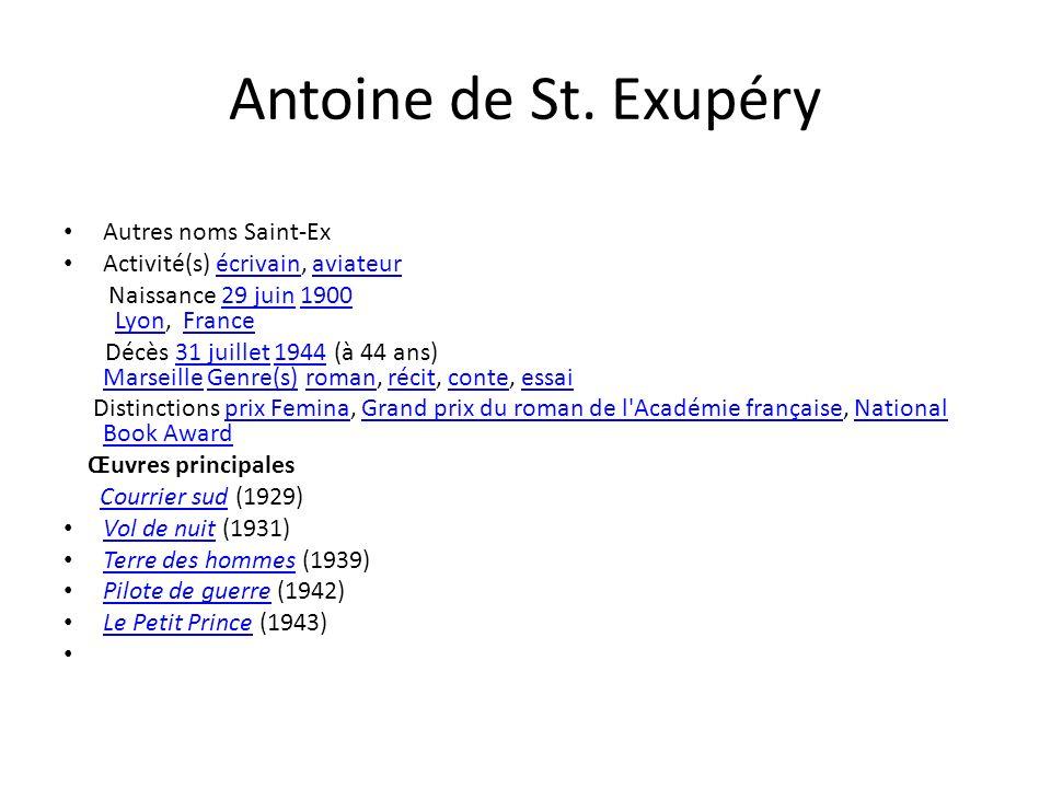 Antoine de St. Exupéry Autres noms Saint-Ex Activité(s) écrivain, aviateurécrivainaviateur Naissance 29 juin 1900 Lyon, France29 juin1900LyonFrance Dé
