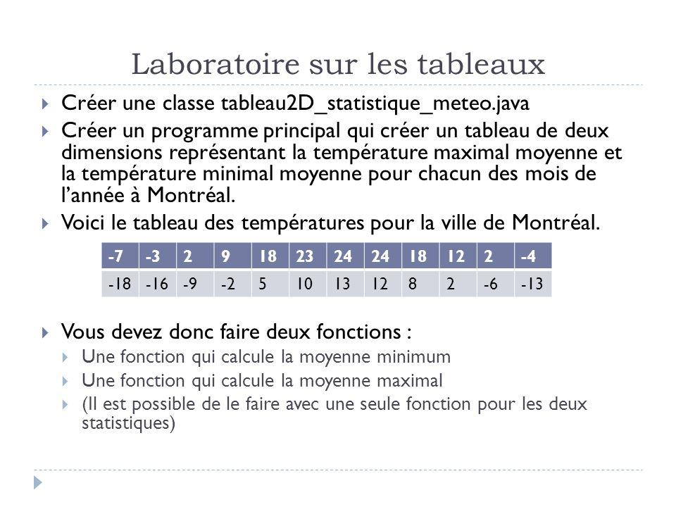 Laboratoire sur les tableaux Créer une classe tableau2D_statistique_meteo.java Créer un programme principal qui créer un tableau de deux dimensions représentant la température maximal moyenne et la température minimal moyenne pour chacun des mois de lannée à Montréal.