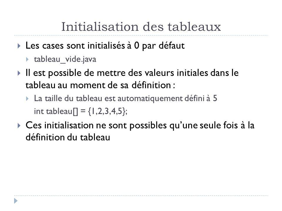 Initialisation des tableaux Les cases sont initialisés à 0 par défaut tableau_vide.java Il est possible de mettre des valeurs initiales dans le tableau au moment de sa définition : La taille du tableau est automatiquement défini à 5 int tableau[] = {1,2,3,4,5}; Ces initialisation ne sont possibles quune seule fois à la définition du tableau