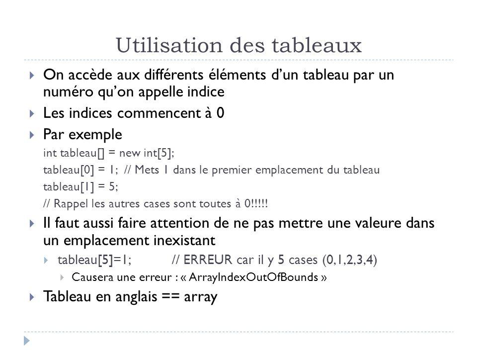 Utilisation des tableaux On accède aux différents éléments dun tableau par un numéro quon appelle indice Les indices commencent à 0 Par exemple int tableau[] = new int[5]; tableau[0] = 1; // Mets 1 dans le premier emplacement du tableau tableau[1] = 5; // Rappel les autres cases sont toutes à 0!!!!.