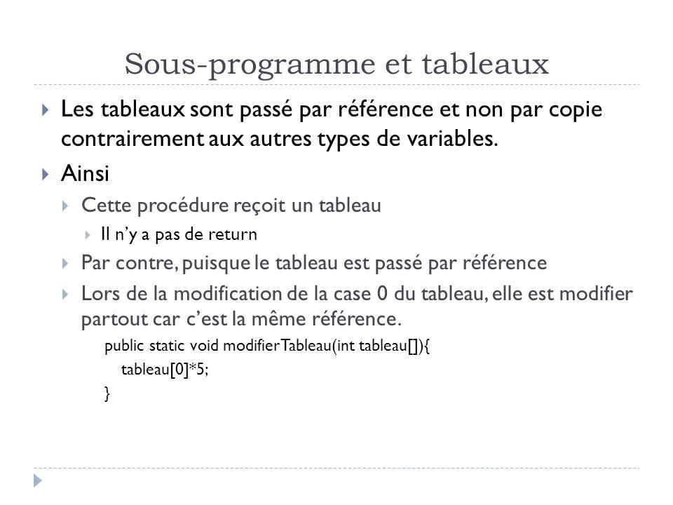 Sous-programme et tableaux Les tableaux sont passé par référence et non par copie contrairement aux autres types de variables.