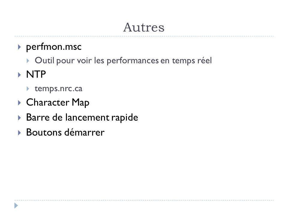 Autres perfmon.msc Outil pour voir les performances en temps réel NTP temps.nrc.ca Character Map Barre de lancement rapide Boutons démarrer