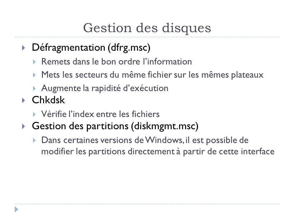 Gestion des disques Défragmentation (dfrg.msc) Remets dans le bon ordre linformation Mets les secteurs du même fichier sur les mêmes plateaux Augmente la rapidité dexécution Chkdsk Vérifie lindex entre les fichiers Gestion des partitions (diskmgmt.msc) Dans certaines versions de Windows, il est possible de modifier les partitions directement à partir de cette interface