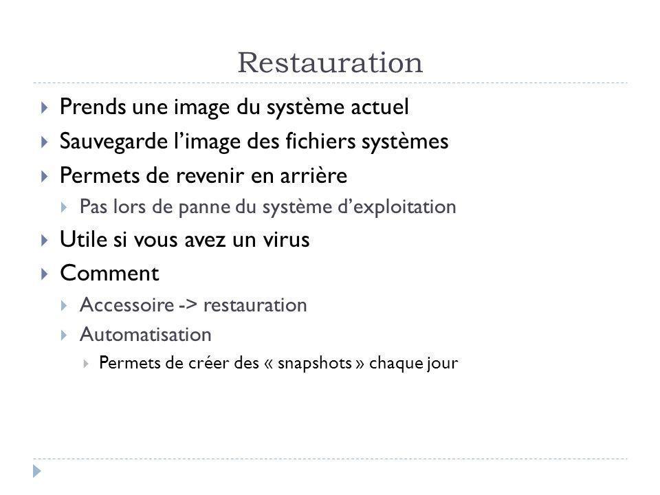 Restauration Prends une image du système actuel Sauvegarde limage des fichiers systèmes Permets de revenir en arrière Pas lors de panne du système dex