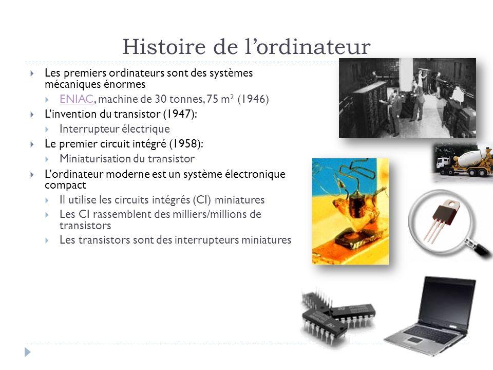Histoire de lordinateur Les premiers ordinateurs sont des systèmes mécaniques énormes ENIAC, machine de 30 tonnes, 75 m 2 (1946) ENIAC Linvention du t