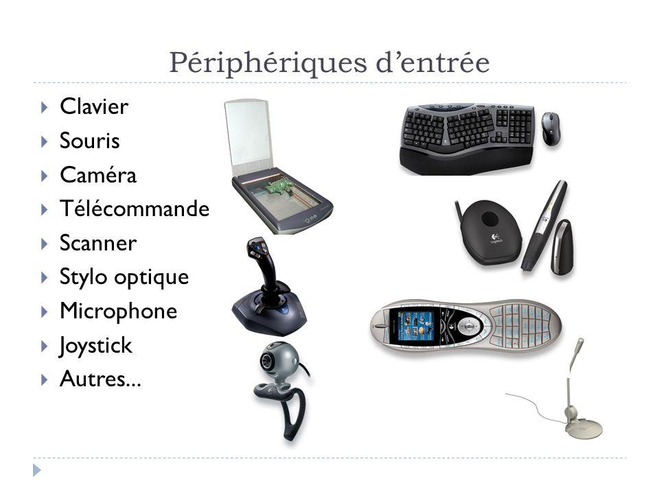 Périphériques dentrée Clavier Souris Caméra Télécommande Scanner Stylo optique Microphone Joystick Autres...