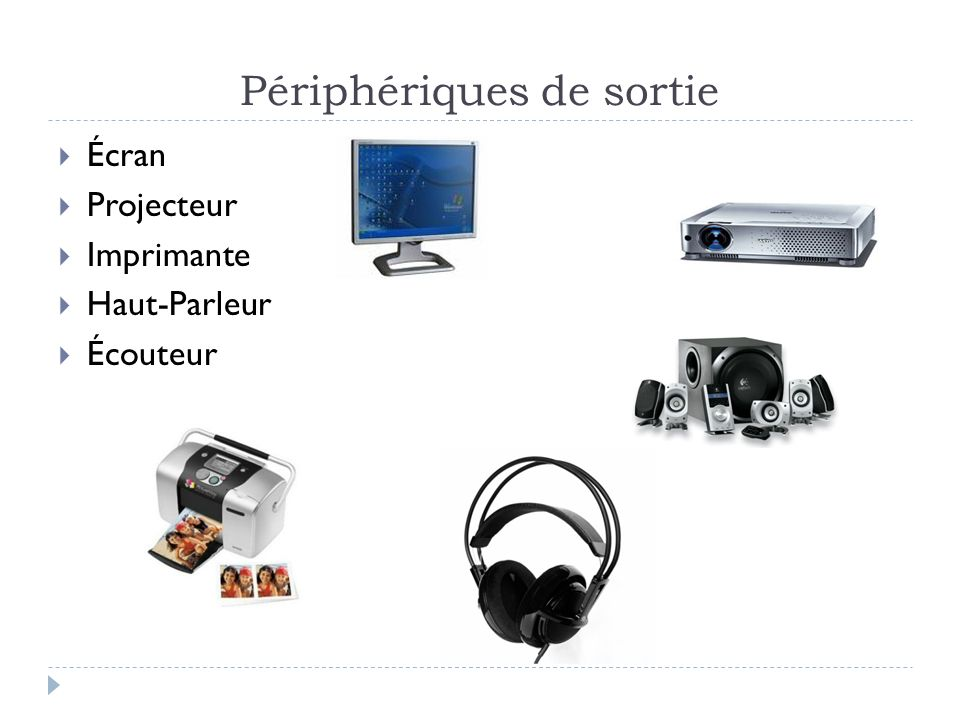 Périphériques de sortie Écran Projecteur Imprimante Haut-Parleur Écouteur