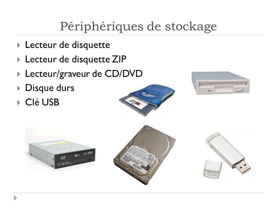 Périphériques de stockage Lecteur de disquette Lecteur de disquette ZIP Lecteur/graveur de CD/DVD Disque durs Clé USB