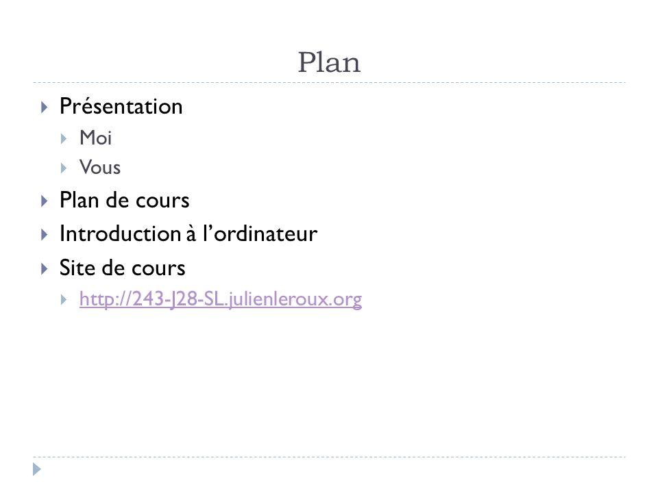 Plan Présentation Moi Vous Plan de cours Introduction à lordinateur Site de cours http://243-J28-SL.julienleroux.org