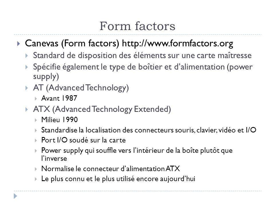 Form factors Canevas (Form factors) http://www.formfactors.org Standard de disposition des éléments sur une carte maîtresse Spécifie également le type