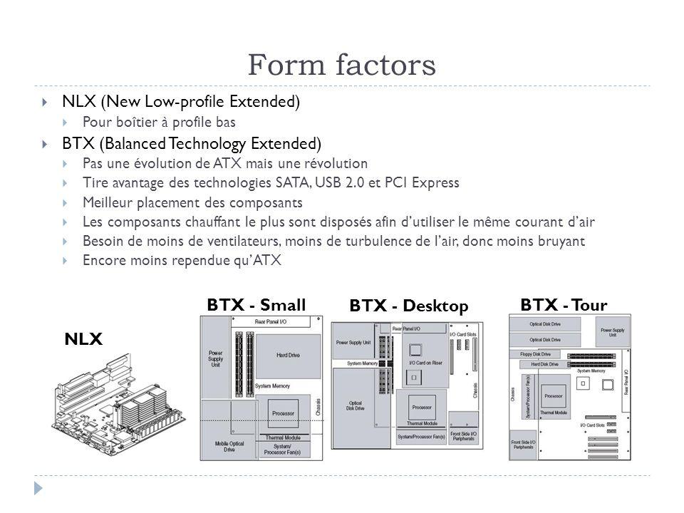 NLX (New Low-profile Extended) Pour boîtier à profile bas BTX (Balanced Technology Extended) Pas une évolution de ATX mais une révolution Tire avantag