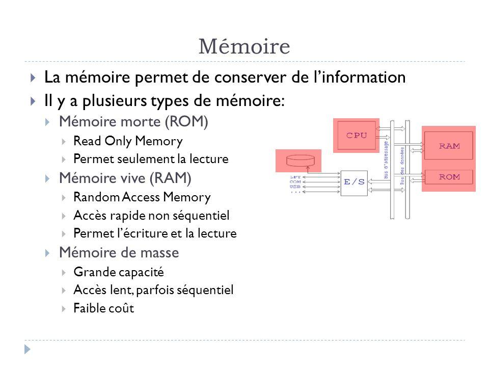 Mémoire La mémoire permet de conserver de linformation Il y a plusieurs types de mémoire: Mémoire morte (ROM) Read Only Memory Permet seulement la lec