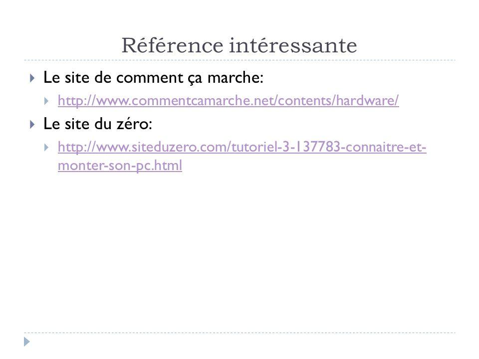 Référence intéressante Le site de comment ça marche: http://www.commentcamarche.net/contents/hardware/ Le site du zéro: http://www.siteduzero.com/tuto