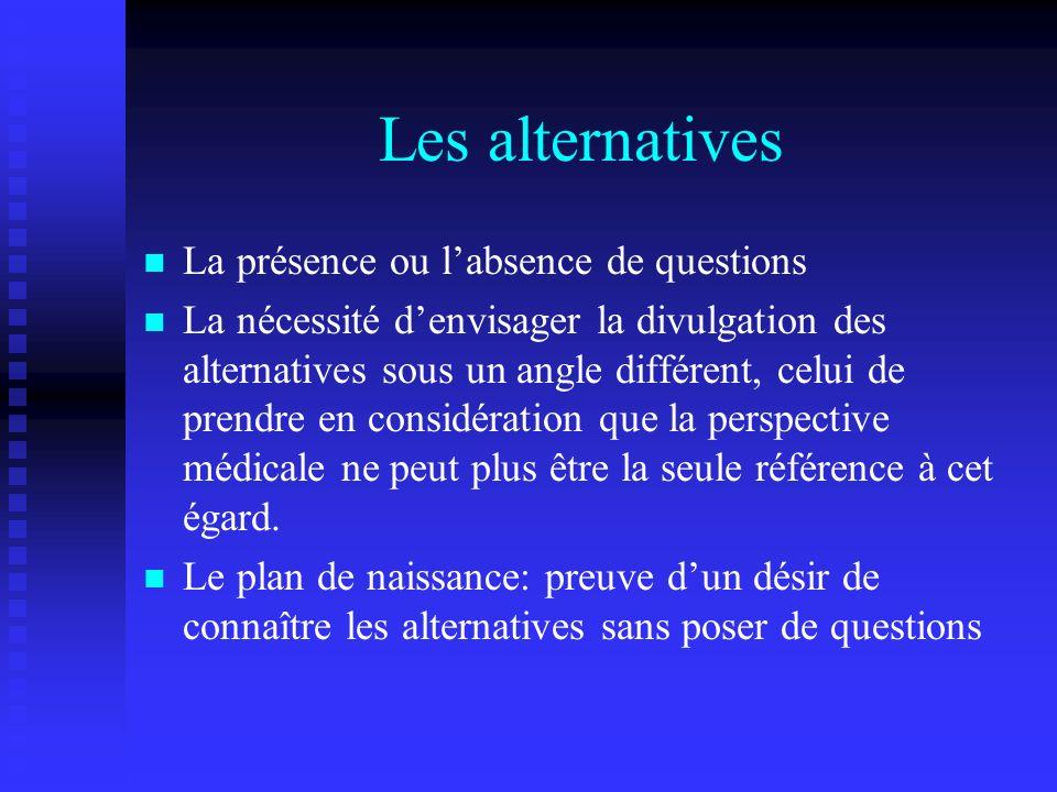 Les alternatives La présence ou labsence de questions La nécessité denvisager la divulgation des alternatives sous un angle différent, celui de prendr