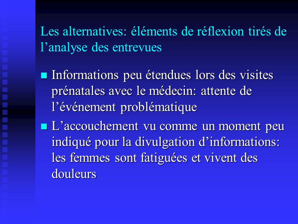 Les alternatives: éléments de réflexion tirés de lanalyse des entrevues Informations peu étendues lors des visites prénatales avec le médecin: attente