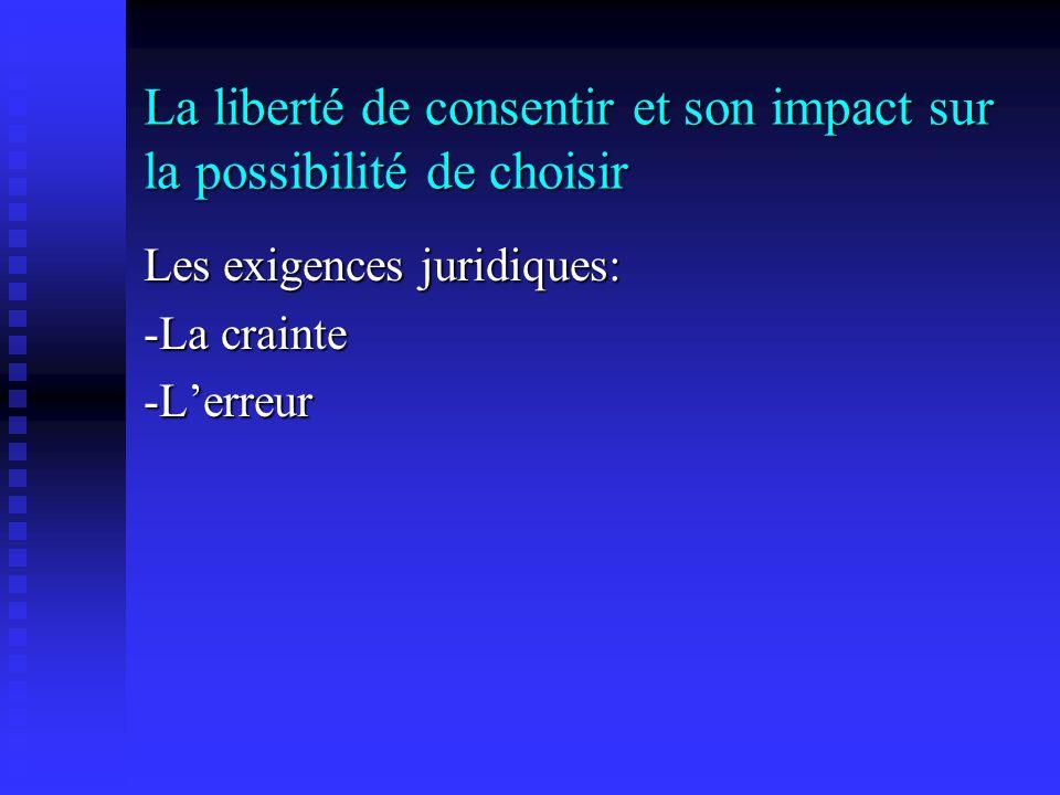 La liberté de consentir et son impact sur la possibilité de choisir Les exigences juridiques: -La crainte -Lerreur