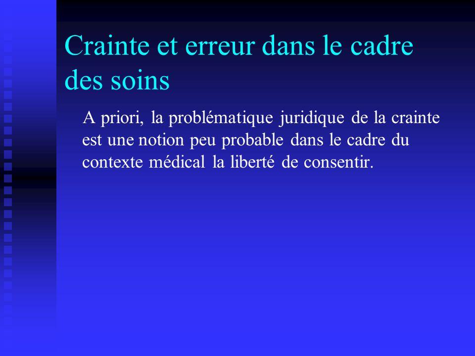 Crainte et erreur dans le cadre des soins A priori, la problématique juridique de la crainte est une notion peu probable dans le cadre du contexte méd