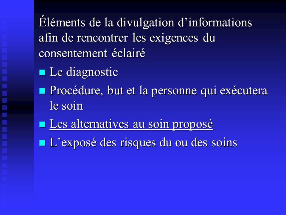 Éléments de la divulgation dinformations afin de rencontrer les exigences du consentement éclairé Le diagnostic Le diagnostic Procédure, but et la per