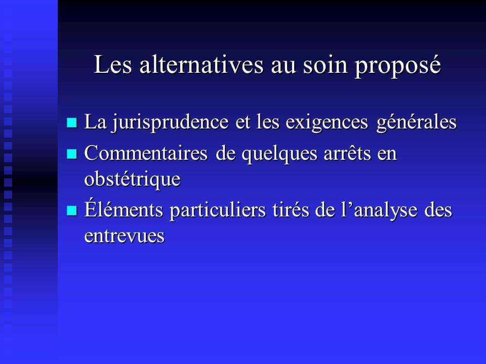 Les alternatives au soin proposé La jurisprudence et les exigences générales La jurisprudence et les exigences générales Commentaires de quelques arrê