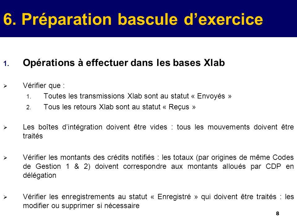 8 6. Préparation bascule dexercice 1. Opérations à effectuer dans les bases Xlab Vérifier que : 1.