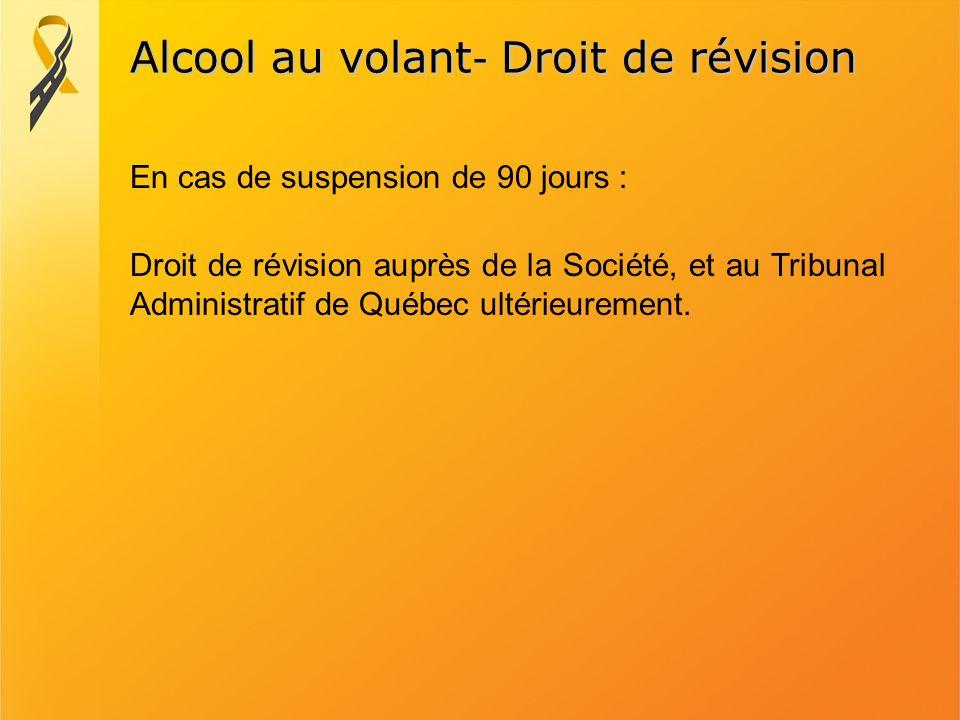 Alcool au volant - Droit de révision Droit de révision auprès de la Société, et au Tribunal Administratif de Québec ultérieurement. En cas de suspensi