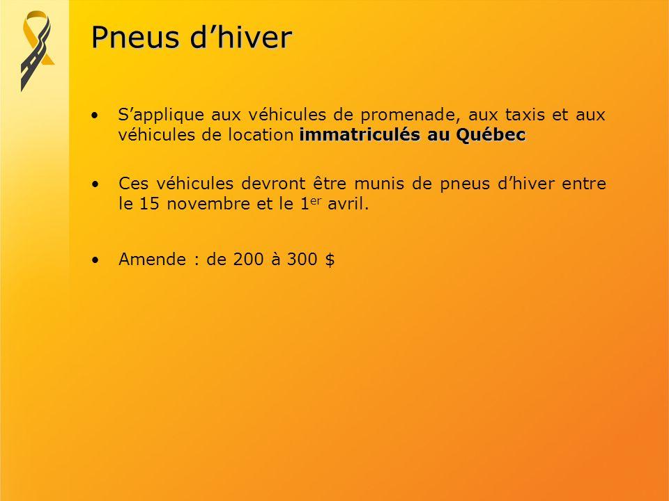 Pneus dhiver immatriculés au QuébecSapplique aux véhicules de promenade, aux taxis et aux véhicules de location immatriculés au Québec Ces véhicules d